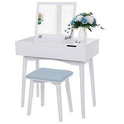 BEWISHOME Vanity Makeup Table Set, Flip Top Mirror, Sliding Drawer, Cushioned Stool, Organizer,  ...