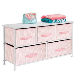 mDesign Fabric 5-Drawer Dresser and Storage Organizer Unit for Bedroom, Apartment, Nursery or Ti ...