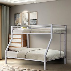 Merax Twin-Over-Full Metal Bunk Bed with Ladder, Multifunctional Design, Space Saving (white)