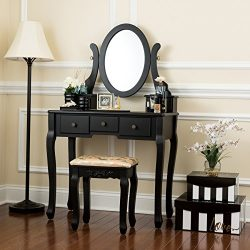 Fineboard HFB-VT07-BK Single Mirror Dressing Set Five Organization Drawers Vanity Table with Woo ...
