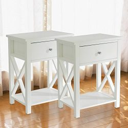 MAGIC UNION Wooden X-Design Side End Table Night Stand Storage Shelf with Bin Drawer Night Stand ...