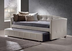 Hillsdale 1061DBT Napoli Daybed with Trundle, 41.75″ D x 87″ L x 36.25″ H, Ivory