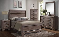 Kings Brand Queen Size Black/Brown Wood Modern Bedroom Furniture Set, Bed, Dresser, Mirror, Ches ...