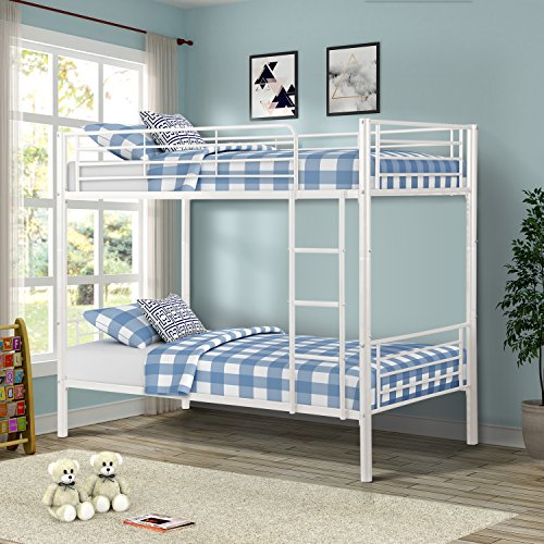 Merax Bunk Bed Twin-Over-Twin Metal Bunk Bed Bedroom Furniture in White