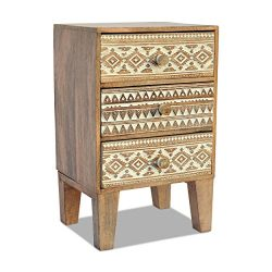 The Naturally Modern Nightstand, 3 Drawers, Artisan Carved, Rustic, Incised Tribal Pattern, Soli ...