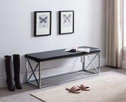 Black Bonded Leather / Chrome Metal Frame X-Design Entryway Bedroom Bench