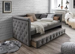 Home Source H-1025 Day Bed with Trundle, Grey
