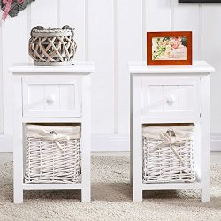 Edxtech Set of 2 White Chic Nightstand End Side Bedside Table w/Wicker Storage Wood