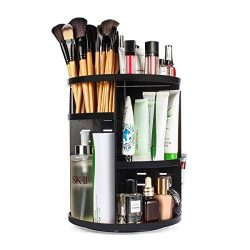 ELOKI 360 Rotating Makeup Organizer, DIY Adjustable Makeup Carousel Spinning Holder Storage Rack ...