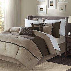 Madison Park Palisades Cal King Size Bed Comforter Set Bed In A Bag – Brown, Taupe, Pieced ...