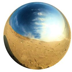 Whole House Worlds The Crosby Street Stainless Steel Gazing Ball for Homes and Gardens, 7″ ...