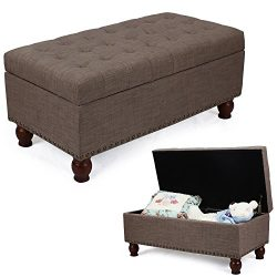 DecentHome Rectangular Storage Ottoman Bench Toy Box Footstool with Solid Wood Legs Saddle Brown