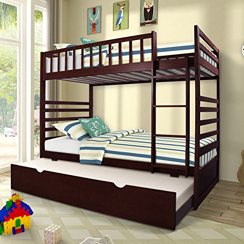 Merax Twin Over Twin Bunk Bed with Trundle Solid Wood Bunk Bed in Espresso Finish