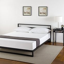 Zinus 7 Inch Platforma Bed Frame with Headboard, Mattress Foundation, Boxspring Optional, Wood S ...