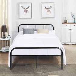 GreenForest Queen Size Bed Frame Metal Mattress Support Platform Bed Frame with Headboard and Fo ...