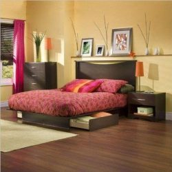 South Shore Back Bay Dark Chocolate Queen Wood Storage Platform Bed 3 Piece Bedroom Set