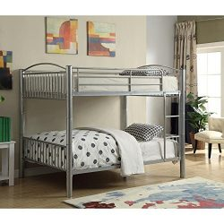 Major-Q Modern Silver Finish Metal Tube Supported Full over Full Bunk Bed with Built-In Front La ...