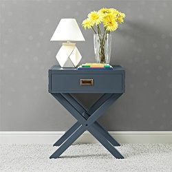 Dorel Living Miles Nightstand, Graphite Blue