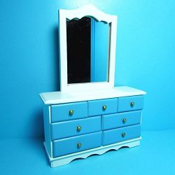 Dollhouse Miniature Bedroom Dresser with Mirror Blue and White T – My Mini Fairy Garden Do ...
