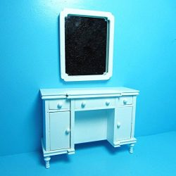 Dollhouse Miniature Unique Bedroom Dresser with Wall Mirror in White T – My Mini Fairy Gar ...
