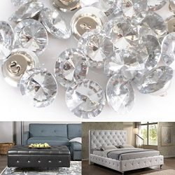 Reelva Acrylic Crystal Rhinestone Buttons with Metal Loop Round Sofa Upholstery Buttons 25mm (25 ...