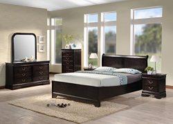 Best Quality Furniture B81QSet Bedroom Set, Queen, Cappuccino