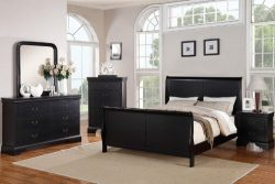 Poundex Louis Phillipe Bedroom Set Featuring French Style Sleigh Platform Bed and Matching Night ...