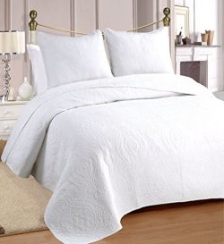 Cozy Line Home Fashions 100% COTTON Solid White Medallion Bedding Quilt Set, Reversible Luxury C ...