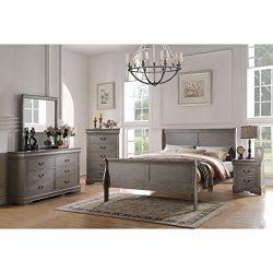 Acme Furniture Louis Philippe Antique Grey 4-Piece Sleigh Bedroom Set Full