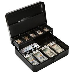 Metal Cantilever Cash Box with Combination Lock, Decaller Large Lock Money Box – 5 Compart ...