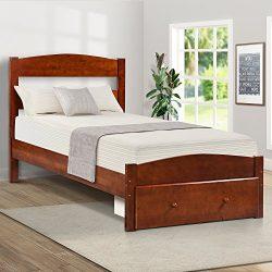Merax Platform Twin Bed Wood Frame with Storage/Headboard/Wooden Slat Support (Walnut)