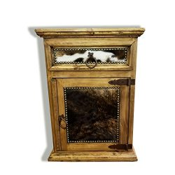 RUSTIC FURNITURE DELIVERED Rustic Western Nightstand End Table With Cowhide Free 3 Day Shipping  ...