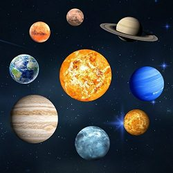 LiveGallery 9pcs Removable Glow in the dark Planet Wall Stickers Sun Earth and so on Glowing Pla ...
