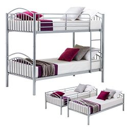 Mecor Twin over Twin Metal Removable Bunk Beds Frame Kids/Adult Children Bedroom Furniture with  ...