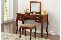Poundex F4147 Bobkona Cailyn Flip Up Mirror vanity Set with Stool in Cherry