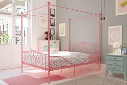 DHP 4020719 Canopy Bed with Sturdy Frame, Metal, Full, Pink