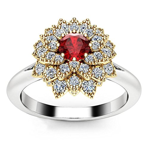SMALLE◕‿◕ Clearance,Exquisite Women's Two Tone Silver Floral Ring Round Diamond Flower Jewely