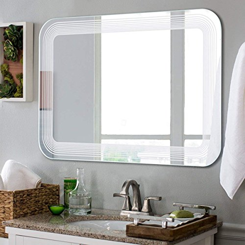 Tangkula Led Mirror Wall Mount Lighted Mirror Bathroom