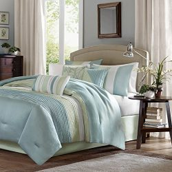 Madison Park Amherst Cal King Size Bed Comforter Set Bed In A Bag – Green, Aqua, White, Pi ...