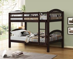 Harper&Bright Designs Bunk Bed Solid Wood Twin over Twin Bunk Beds with Ladder (Espresso)