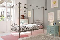 DHP Canopy Bed with Sturdy Bed Frame, Metal, Twin Size – Pewter