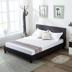 Mecor Upholstered Linen Full Platform Bed Metal Frame with Wood Slat Support,Gray/Full Size