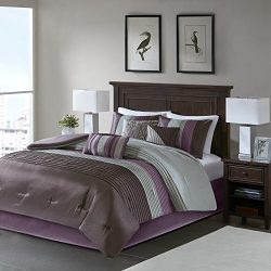 Madison Park Amherst Queen Size Bed Comforter Set Bed In A Bag – Purple, Grey, Pieced Stri ...