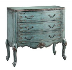 Stein World Furniture Freya Three-Drawer Accent, Turquoise with Copper Accents