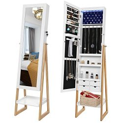 SONGMICS 6 LEDs Jewelry Cabinet with Mirror, Lockable Jewelry Armoire Organizer Scandinavian Sty ...