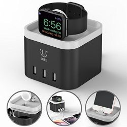 Apple Charging Dock Apple iPhone Watch Stand 4 Port USB Charging Station Cable Management Nights ...