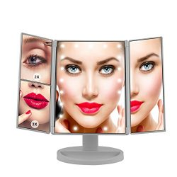 Makeup Mirror, LED Vanity Mirror with 21 LED Lights – 3X/2X Magnifying Tri-Fold Countertop Cosme ...