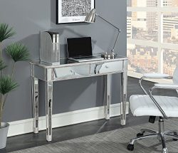 Convenience Concepts Gold Coast Mirrored Desk Vanity, Weathered White/Mirror