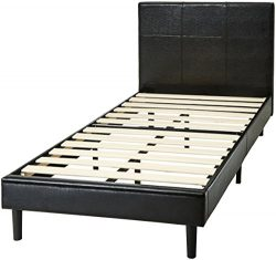 AmazonBasics Faux Leather Upholstered Platform Bed with Wooden Slats, Twin