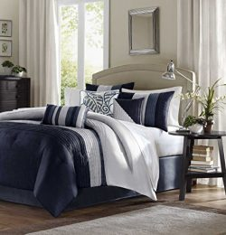 Madison Park Amherst Queen Size Bed Comforter Set Bed In A Bag – Navy, Light Grey, Pieced  ...